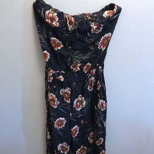 Stretchy Floral Strapless Jumpsuit